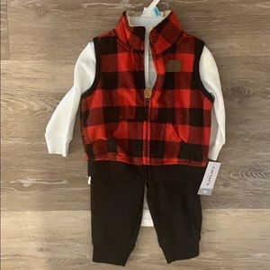 Carter's Baby Boy's Buffalo Red Plaid 3 pc set